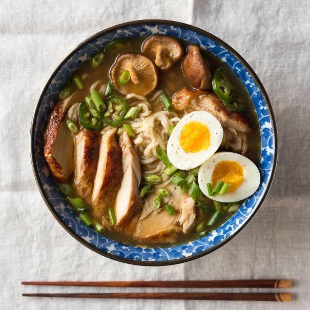 8 oz of chicken 6 oz soba noodles brummel & brown instead of butter egg whites only 10 pp+ per serving