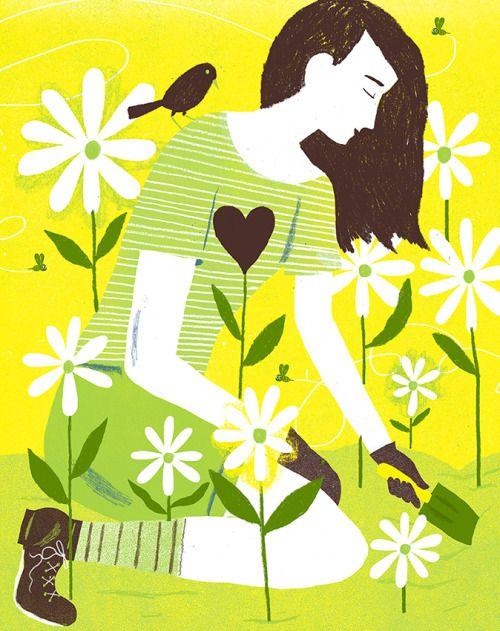 Gardening!  Illustrated by Chris Silas Neal   #illustration #flowers #gardening
