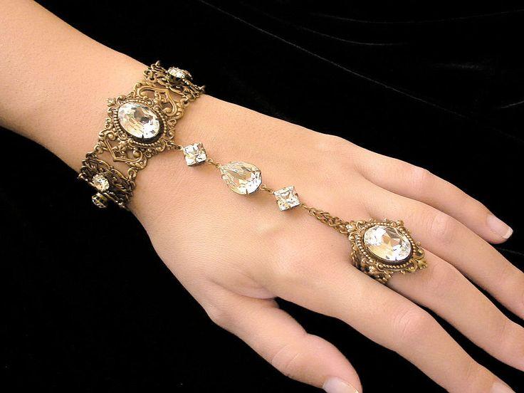 Swarovski  Crystal Slave Bracelet with Ring  - Victorian Jewelry - Wedding Jewelry - Victorian Bridal Bracelet, via Etsy.