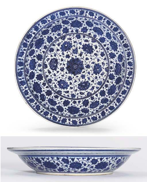 Google Image Result for http://www.persiancarpetguide.com/sw-asia/Islamic/Ottoman/images/Iznik_Blue_and_White_Pottery_Dish_C_1480_1500_Lot_101_Apr_06.jpg