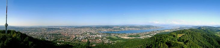 View of Zuerich from Uetliberg - the alps are off the distance on the right