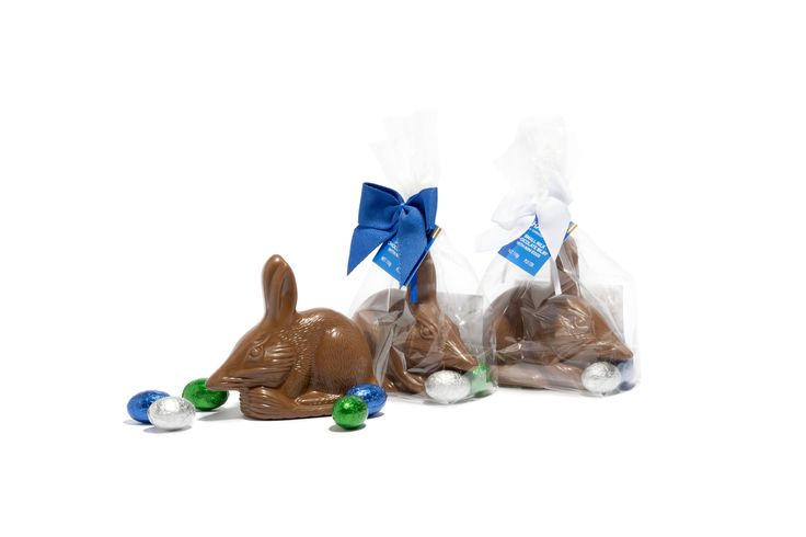 Twenty four years ago we created Australia's first chocolate Easter Bilby together with the Foundation for Rabbit Free Australia (RFA). Part proceeds from sales are contributed to the RFA's work to protect the native Bilby's environment.  Our classic chocolate Easter Bilbies are available in small and large sizes in milk or dark premium chocolate. Purchase in-store or online.