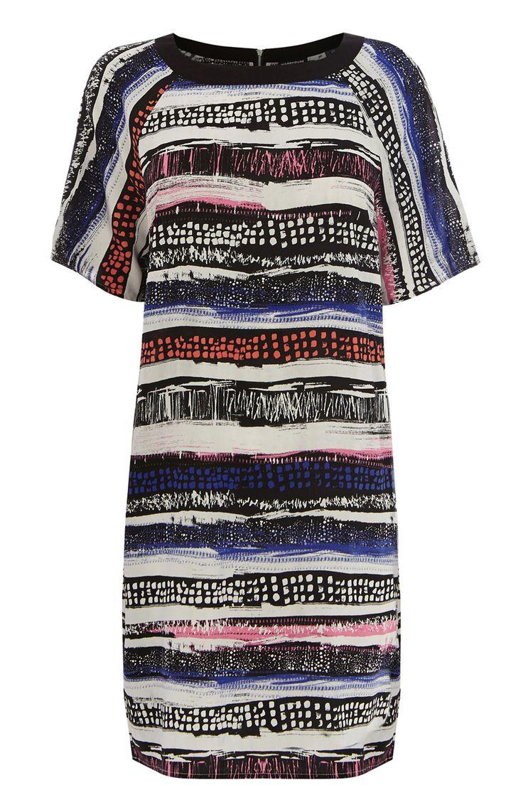 Clothing | Multi Textured Stripe Print Dress | Warehouse