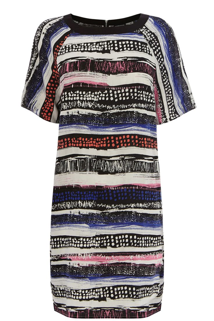 Clothing | Multi Textured Stripe Print Dress | Warehouse