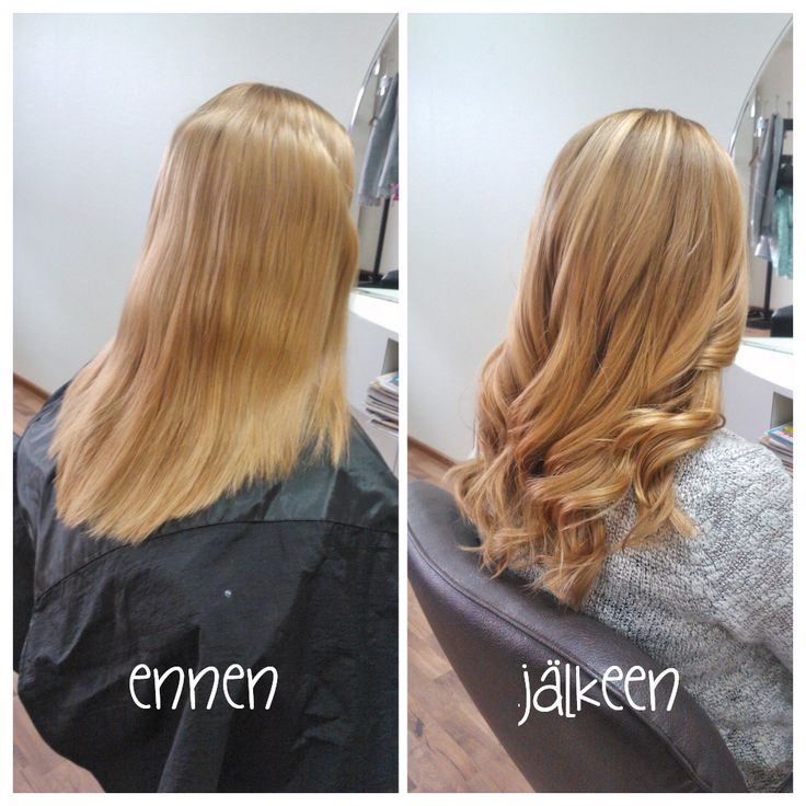 Before and after. Lovely long sand toned blond hair. Hair by Emmi/Parturi-kampaamo Salon Maria Seinäjoki