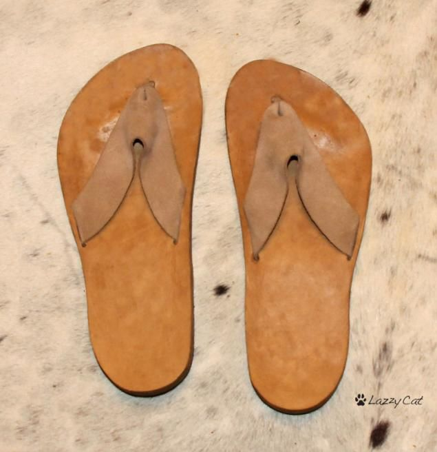 Make your own Leather FlipFlops - free pattern and step by step Photo tutorial - Bildanleitung