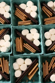 Perfect idea for kids or bonfire parties;) S'mores in a berry basket:) Everyone gets their own little portion:)