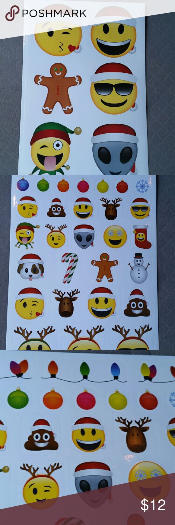 Christmas Emoji 105 stickers Merry Moji NIP Thank you for viewing my listing, for sale is 1 pack of emoji Christmas stickers. MERRY MOJI   You will receive 5 sheets of stickers, totaling 105 stickers. You will receive 2 sheets of the bigger stickers, & 3 sheets of the smaller stickers   Brand new in the package, these would be great to place on presents, Christmas cards, stocking stuffers whatever you want!   If you have any questions or would like additional photos please feel free to ask…