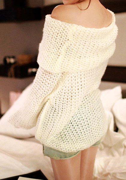 Cowl Neck Sweater - White - Features Off-the-shoulder Cowl