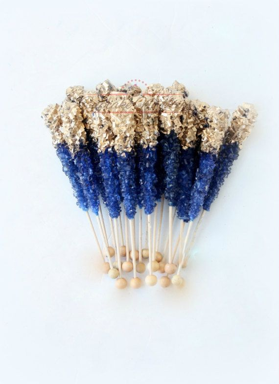 Buy Online! Elegant & delicious Royal Blue and Gold themed Rock candy with pretty gold finish! Great for a royal blue navy and gold wedding, Royal Prince Baby Shower or birthday, Navy and Gold bridal shower, baby shower, Navy blue and Gold wedding favors, dessert table treats, or for a beautiful Navy Blue & Gold Wedding dessert table!