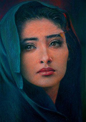 painting of Manisha Koirala - Nepali-Indian film actress by artist Atula Siriwardane.