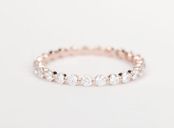 Diamond Wedding Band 14K Rose Gold by SundariGems on Etsy...i need this in my life!