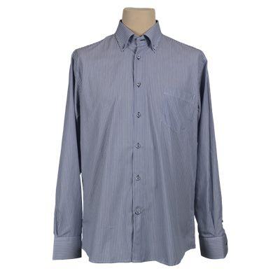 Camicia vestibilita' regolare fantasia rigata - Rigata blu - Invernale. € 37,00. #hallofbrands #hob #camicia #shirt