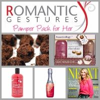 Pamper Pack for Her - Includes: Belgium chocolate truffles A copy of the latest magazine A bottle of bubble bath/shower creme Chocolate/Strawberry scented body lotion A small complimentary bottle of sparkling wine