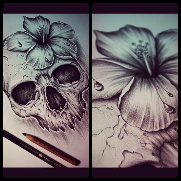 nice Skull Ink Designs by Edward Miller