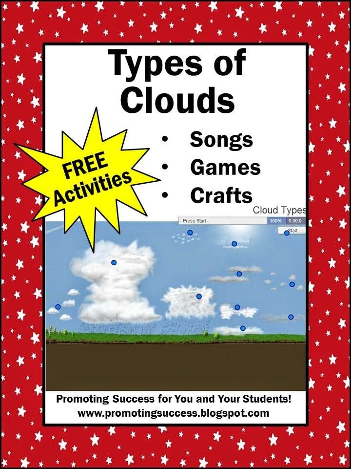 FREE Types of Clouds Weather Activities for Kids -- REPIN and visit this blog later for lots of FREE teaching ideas and resources. www.promotingsuccess.blogspot.com
