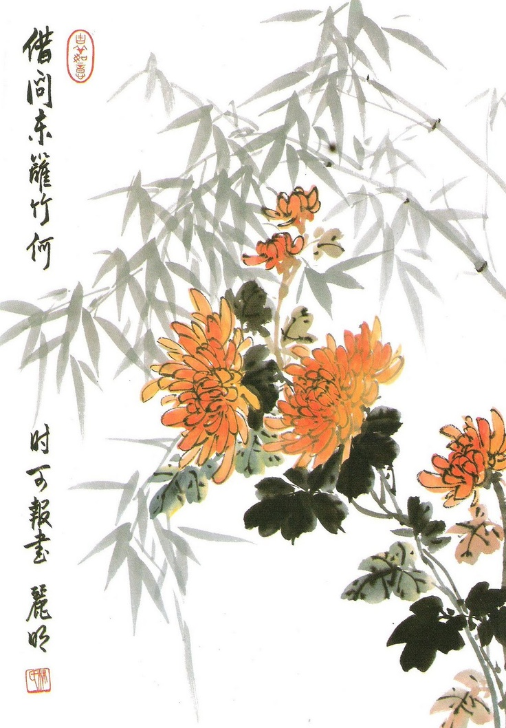 Chrysanthemum the sound of the pine breeze in the ink for Chinese mural art