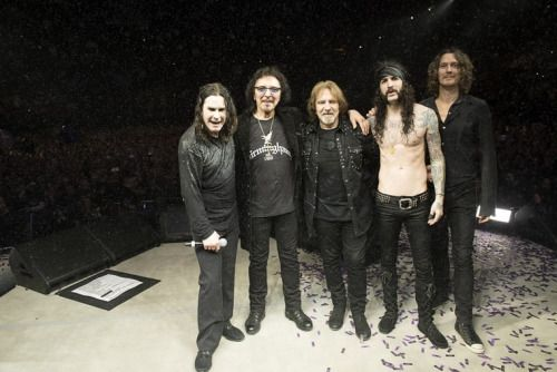 After the final bow in Birmingham, England.  Ozzy Osbourne, Tony Iommi, Geezer Butler, Tommy Clufetos & Adam Wakeman.  Photographed by Ross Halfin.