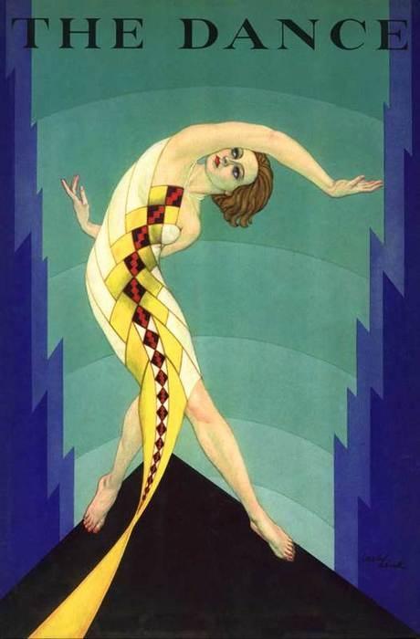Dance Magazine dancer with snake like dress August 30's art poster print SKU2602