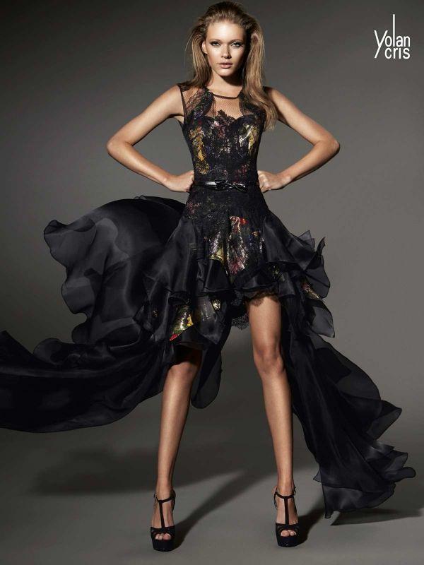 Foto 6 de 61 Vestido de fiesta estilo tail hem con volatil falda en color negro | HISPABODAS