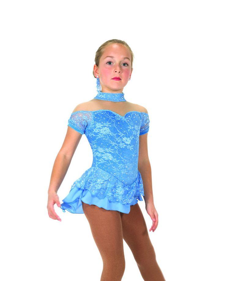 New Jerrys Figure Skating Dress 24 Lacy Belle Ballet Blue Made on Order