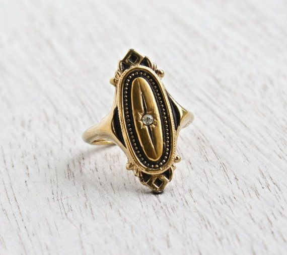 Vintage Art Deco Style Rhinestone Ring Adjustable Gold