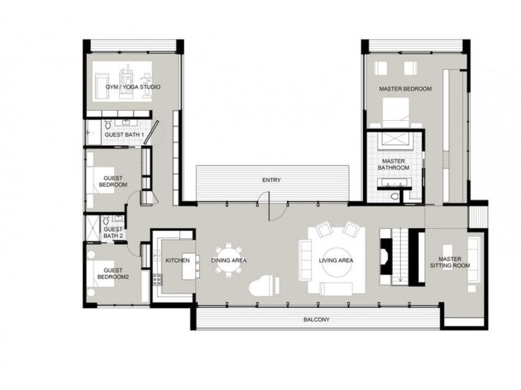 25 best ideas about u shaped house plans on pinterest 5 for U shaped ranch house plans