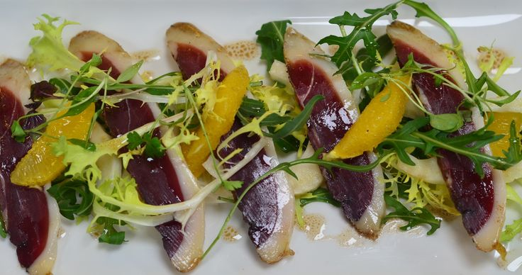Locally smoked duck breast with pickled fennel and orange