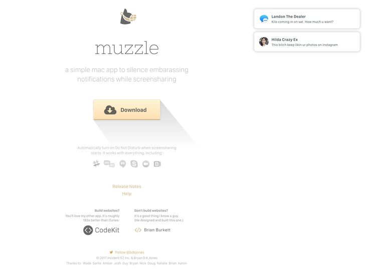 Hysterical One Pager for Muzzle - a simple mac app by Bryan Jones to silence embarassing notifications while screensharing.