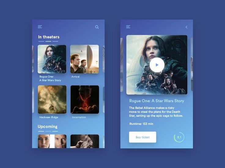 Simple cinema app by CZECH #Design Popular #Dribbble #shots