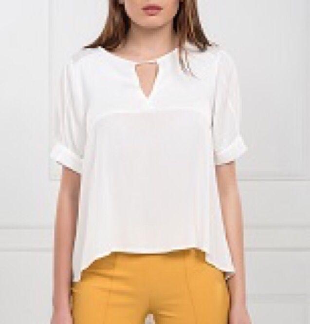 Karpuz Kol Fermuarlı Ekru Bluz www.fashionturca.com