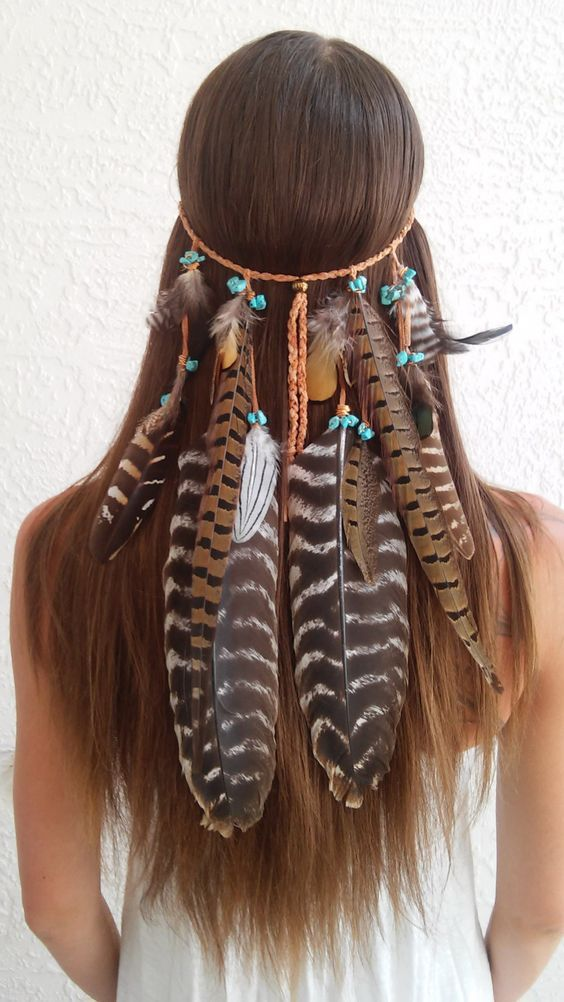 New to dieselboutique on Etsy: Boho Princess Feather headband native american style indian headband tribal bohemian boho hippie hippy hair band gypsy edm (87.99 USD):