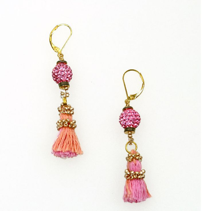 Elizabeth Wahyu Accessories      Made with light metal ornament, crystal beads, tassel  #earrings #jewellery #accessories  #beaded #beads #handmade #bauble #tassel  www.elizabethwahyuaccesories.com