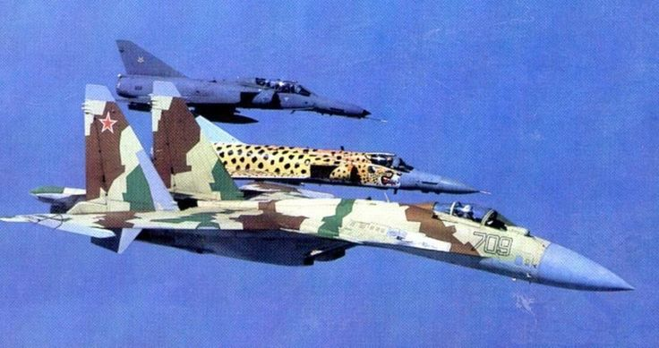 South African Air Force Atlas Cheetahs & Soviet SU-35 at AFB Louis Trichardt in 1995.