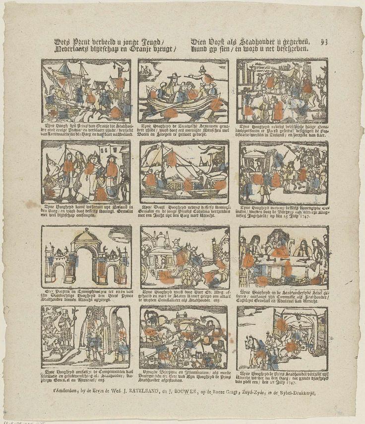 De erven de weduwe J. Ratelband en J. Bouwer | Dees prent verbeeld u jonge jeugd / Nederlants blijtschap en oranje vreugt / Dien vorst als stadhouder u gegeeven / Kund gy sien / en word u net beschreven, De erven de weduwe J. Ratelband en J. Bouwer, Anonymous, c. 1782 - c. 1793 | Blad met 12 voorstellingen van feesten ter gelegenheid van de aanstelling van prins Willem IV tot stadhouder van Holland, Zeeland en Utrecht. Onder elke afbeelding een onderschrift. Genummerd rechtsboven: 93.