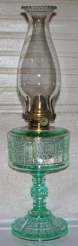 Pittsburgh PA Apple Green Vaseline Uranium Glass Glows EAPG Two Panel Oil Lamp