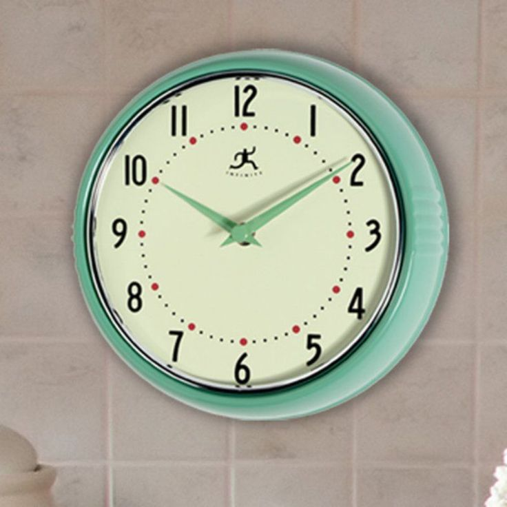 Infinity Instruments-Green Round Metal Retro 9.5 in. Wall Clock - 10940-GREEN