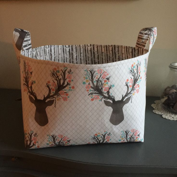 Fabric Basket- Deer Antlers- Woodland Theme- Buck Forest- Nursery Decor by WatchMyDive on Etsy https://www.etsy.com/listing/291660195/fabric-basket-deer-antlers-woodland