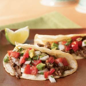 Beef Carnitas Tacos   MyRecipes.com #protein #veggies