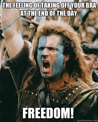 FREEDOM! The feeling of taking off your bra at the end of the day. - Freedom - quickmeme