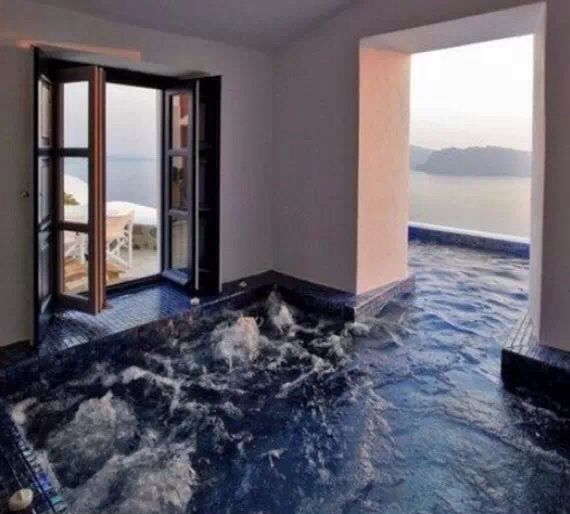 Indoor & outdoor hot tub