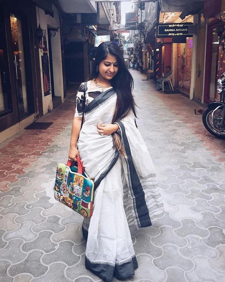 Love this saree! #Repost @breviloquent_in ・・・ Bringing Saree back and making it a street style statement. All the way from the city of joy, my Saree collection seems quite joyful ✨#papreeka