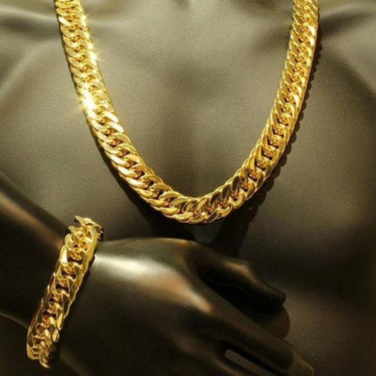 Mens Thick Tight Link 24k Yellow Gold Filled Miami Cuban Link Chain and Bracelet Set(Delivery 27-49 Days)