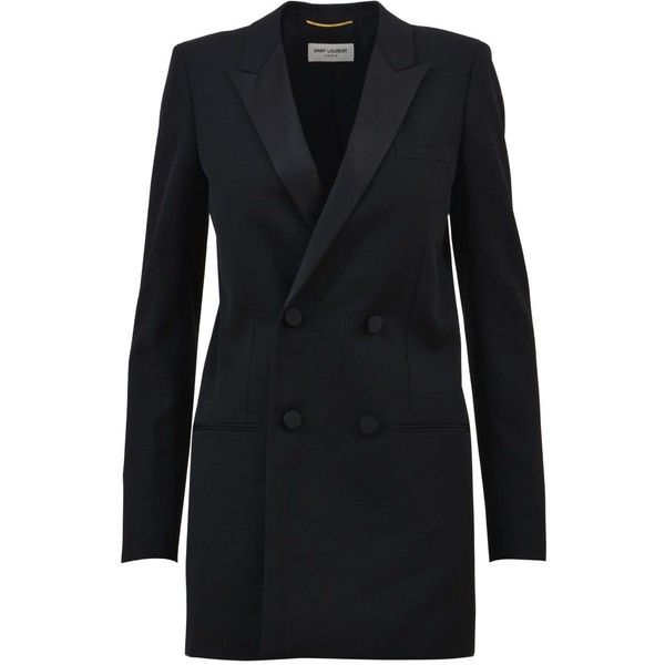 Double Breasted Tuxedo Jacket ($2,405) ❤ liked on Polyvore featuring outerwear, jackets, blazers, black, double-breasted blazers, tuxedo jacket, double breasted jacket, tuxedo blazer and satin lapel blazer
