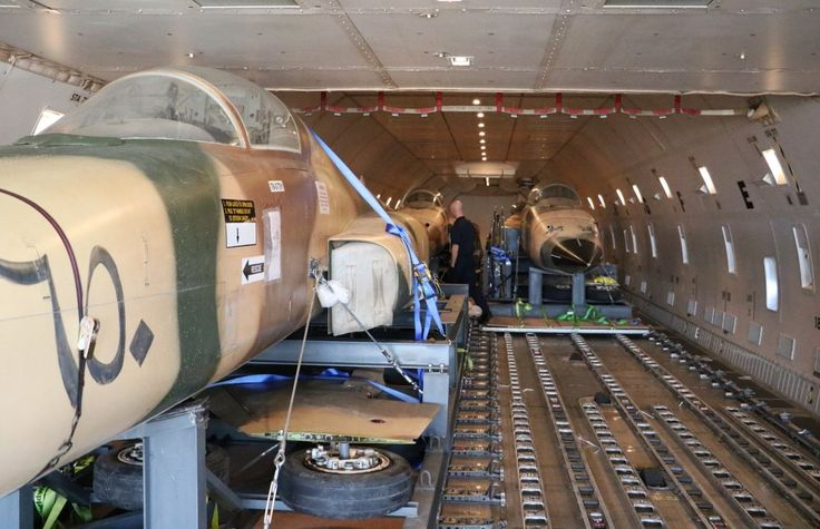 4 F-5E Tiger II aircraft have been hauled from Jordan to Florida, with a stop-over in Germany, aboard an Atlas Air 747-400F freighter - by MCO