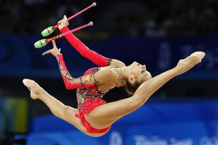 Rhythmic gymnastics combines dance with other aspects of flexibility and coordination.