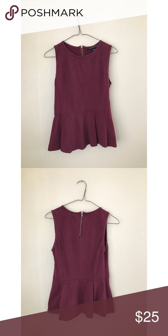 TOPSHOP TALL Peplum Top Size Eur 40, US 8, UK 12. Made in Mauritius. Beautiful maroon colored peplum top with partial zipper down back from TOPSHOP TALL. Topshop Tops Tank Tops