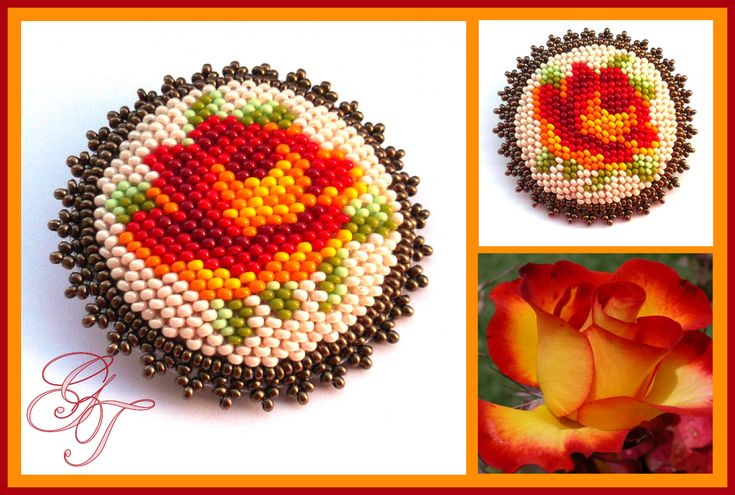 Warm Rose Beaded Brooch - pattern http://biser.info/node/453757