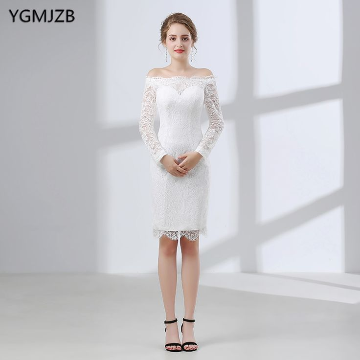 Find More Wedding Dresses Information about White Short Lace Wedding Dress 2018 Sheath Boat Neck Long Sleeve Knee Length Plus Size Wedding Gown Bridal Gown Vestido De Noiva,High Quality vestido de noiva,China vestido de noiva plus Suppliers, Cheap de noiva from Shop1404230 Store on Aliexpress.com