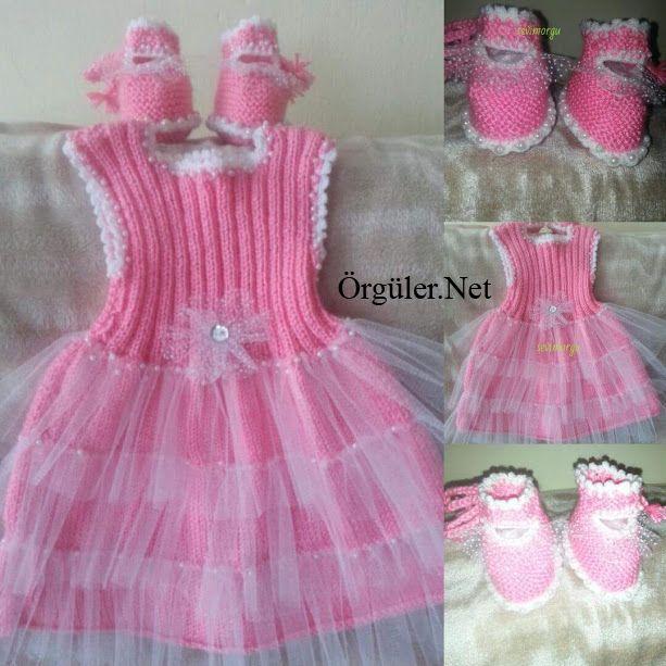 pembe bebek örgü elbise modelleri